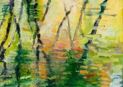 """Abstract Vertical Pond Reflection #1"", 12"" x 15"", oil on paper, $250"