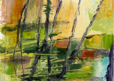 """Abstract Vertical Pond Reflection #2"", 12.5 x 15.5"", oil on paper, Sold"