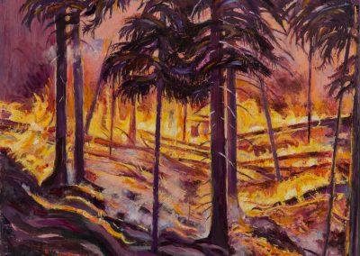 """California Inferno""""- 42"""" x 36"""", oil on board, $3050"""