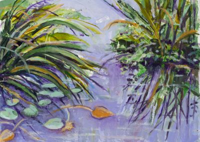 """Floating Water Lilies #1 (Greens & Purples), 12"" x 10"", oil on paper, $200"