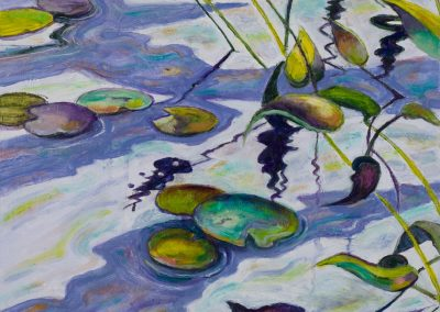 """Floating Water Lilies #2 (Greens & Purples)"",18"" x 18"", oil on board, $750"