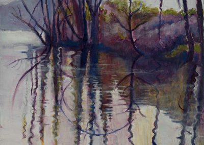 """""""Full Landscape Reflection in Purples"""",17"""" x17 9/16"""" oil on board, Sold"""