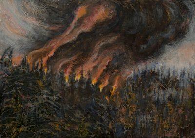 """""""Hill Destruction""""-17"""" x 23.75"""", oil on board, $750"""
