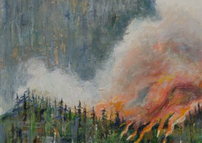 "Hillside Fire with Peach Smoke""-12"" x 24"", oil on canvas, $700"