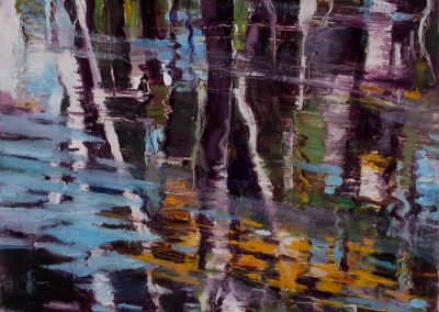 """Purple & Blue Abstract Reflection #2"",12"" x 12"", oil on board, $350"