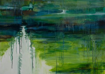 """River Reflection in Green & Blue #2"".35.5""x 27.75"", oil on paper, $1020"