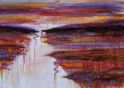 """River Reflection in Red #3"", 35.5"" x 27.75, oil on paper, $1000"