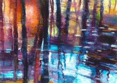 """Sunset Pond View #1"", !2"" x 10"", Oil on board, $550"