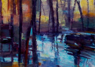 """Sunset Pond View #2"", 24"" X 18"", oil on board, $850"