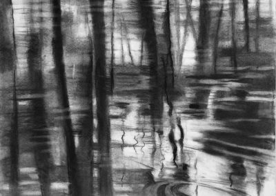 """Sunset Pond View in Black and White"", 24"" x 18"", charcoal on paper"