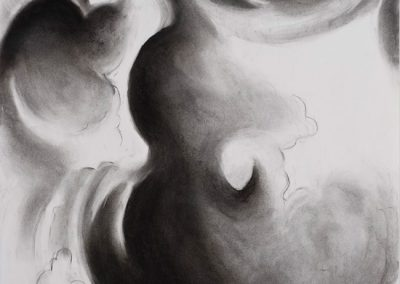 """Abstract Cloud Drawing #4, 9"" x 10"", charcoal on paper, $250"
