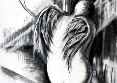 """Angel Resting""-20"" x 30"", charcoal on paper, $550"