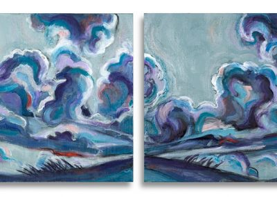 """Blue Cloud Diptic"", 12"" x 24"", oil on board, $500"