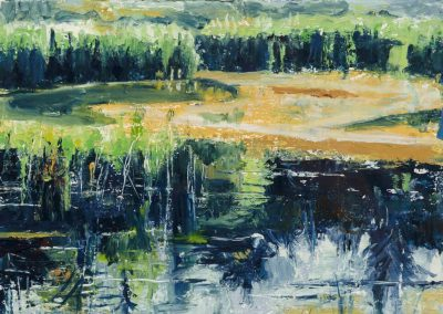 """Blue Marshes""-7.75"" x 10.75"", oil on paper, $250"