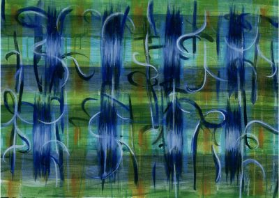 """Blue-Orange Calligraphic,#5,acrylic, ink & oil on paper, $900"