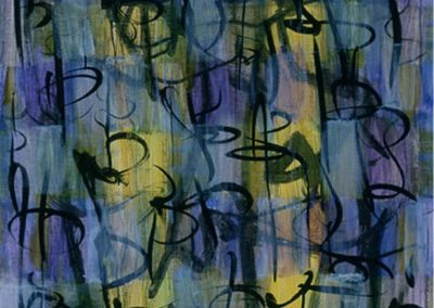 Blue,Purple Calligraphic #3, acrylic, ink & oil on paper, Sold