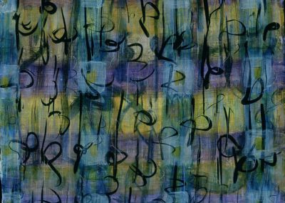 """Blue, Purple Calligraphic #4"",20"" x 30"", acrylic, ink & oil on paper, $1400"