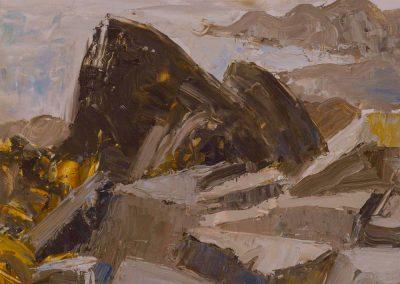 """""""Campobello Rocks #2"""", 9"""" x 12"""", oil on board, $300"""