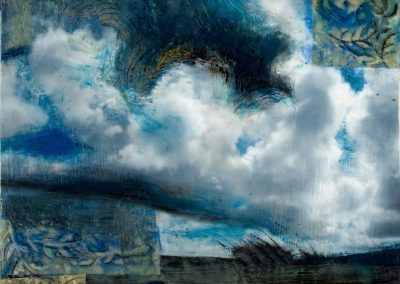 """Cloud Patterns"", 12"" x 12"",mixed media encaustic on board, Sold"