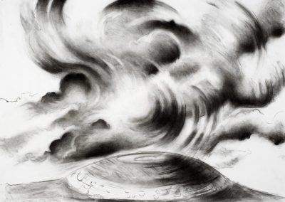 """Clouds over Celtic Mound"",20"" x 30"", charcoal on paper, $600"