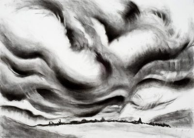 """Clouds over Land"", 20"" x 30"", charcoal on paper, $600"