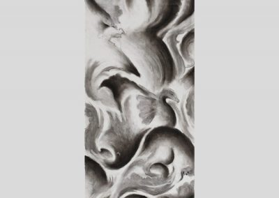 """Creatures in the Sky"", 10"" x 30"", charcoal on paper, $400"