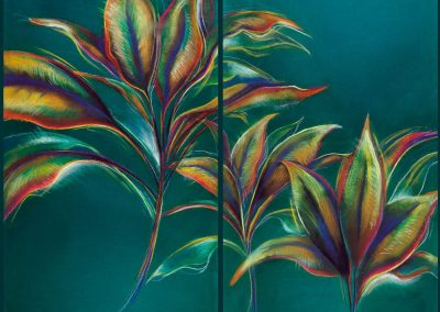 """Hawaiian Foliage, 36"" x 48"", pastel on paper, (diptych), $1400"