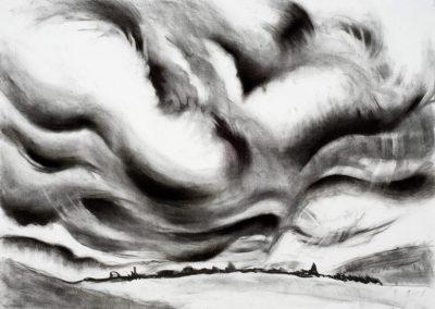 "Irish Cloud Series #2"", 18""x 24"", charcoal on paper, $450"
