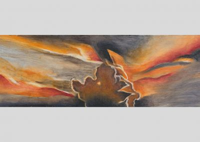 """Orange Sunrise"" 8"" x 20"", oil on board, $200"