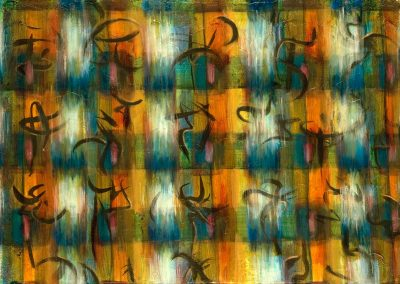 """Primary Multi-color Calligraphic #6, 20"" x 30"", acrylic, ink & oil on paper, $1400"