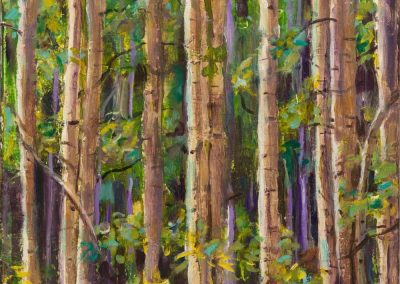 """Purple Birches""-11"" x 14"", Acrylic & oil on canvas, $459"
