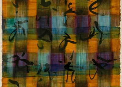 """Purple, Gold, Blue Calligraphic #5"", 20"" x 30"", acrylic, ink & oil on paper, $1400"