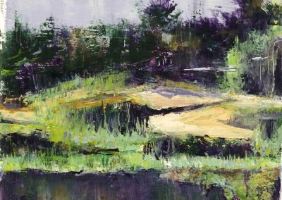 """Purple-Green Marshes""-9.25""x 7.75"", oil on paper, $275"