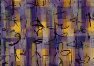 """Purple Yellow Calligraphic #3"", 20"" x 30"", acrylic, ink & oil on paper, $1400"
