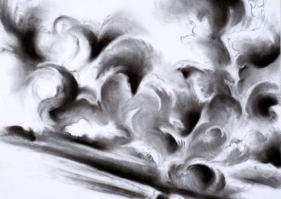 """Slanted Cloud Forms"", 30"" x 40"", charcoal on paper, Sold"