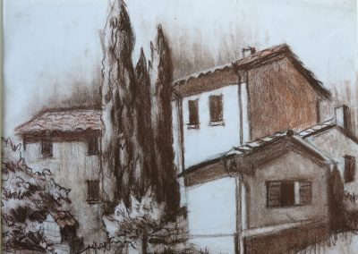 """Tuscany Sketch"", 12"" x 14"", conte crayon on paper, Sold"