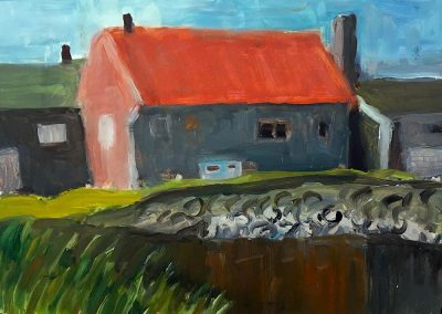 """""""View from Bridge, Lubec, Maine""""-9"""" x 12"""", oil on board, Sold"""
