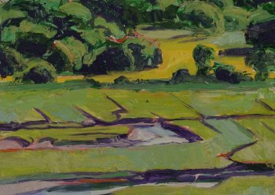 """""""View from Castle Hill #1""""-12""""x 12"""", oil on board, $350"""
