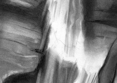 """Waterfall Series #2, 30"" x30, charcoal on paper, $500"