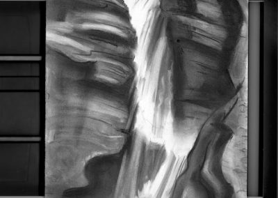 """Waterfall Series #3, 30"" x30"", charcoal on paper, $500"