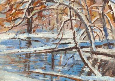 """Winter Pond""-7.5"" x 9.5"", oil on paper, $275"