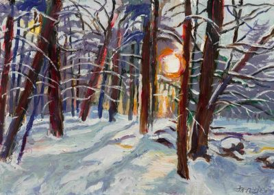 """Winter Sunrise""-7.5"" x 11"", oil on paper, $375"