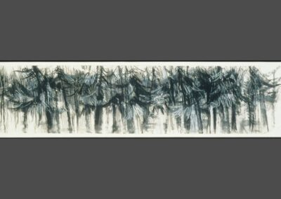"""Multiple Tree Series in Black & White""-12"" x 34"", mixed media on paper, $800 (available as a print)"